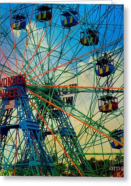 Wonder Wheel Greeting Card by Lilliana Mendez