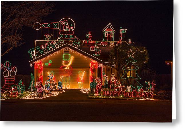 Wonderful Christmas House Greeting Card by Garry Gay