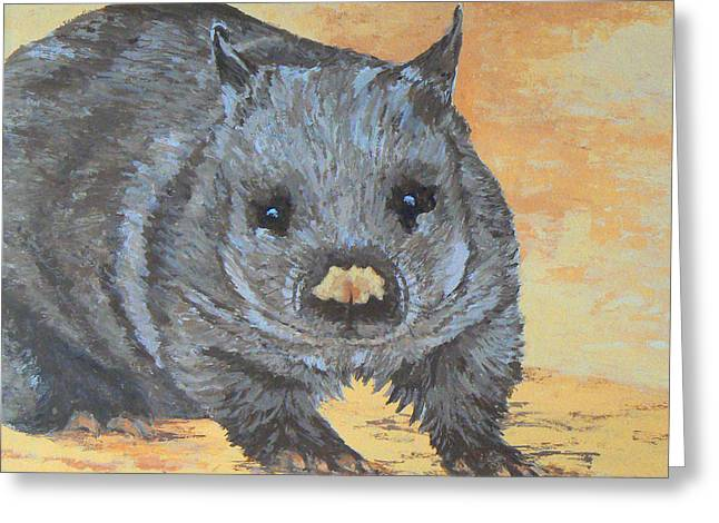 Greeting Card featuring the painting Wonderful Wombat by Margaret Saheed