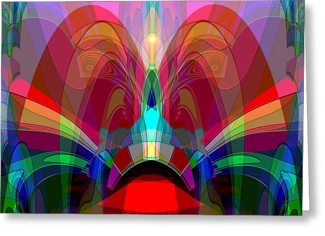 612 - Wondrous Machine Outburst  Greeting Card by Irmgard Schoendorf Welch