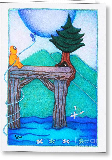 Woobies Character Baby Art Colorful Whimsical Landscape Dock Design By Romi Neilson Greeting Card by Megan Duncanson