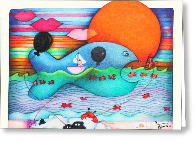 Woobies Character Baby Art Colorful Whimsical Whale Design By Romi Neilson Whale Greeting Card by Megan Duncanson