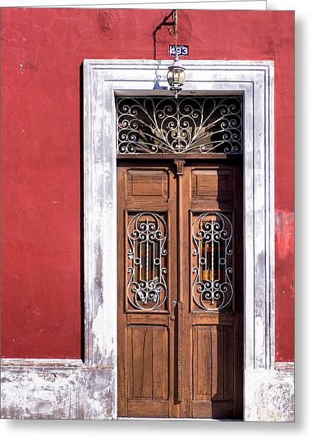 Greeting Card featuring the photograph Wood And Wrought Iron Doorway In Merida by Mark E Tisdale