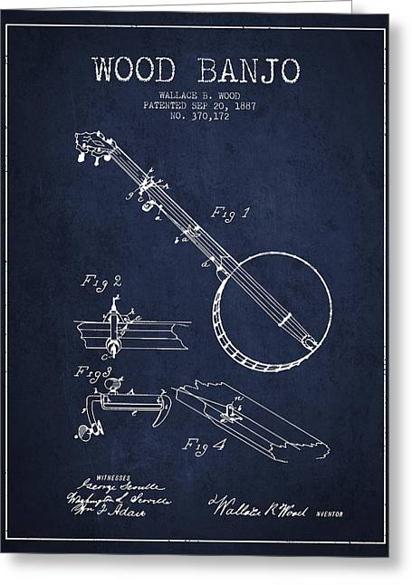 Wood Banjo Patent Drawing From 1887 - Navy Blue Greeting Card by Aged Pixel