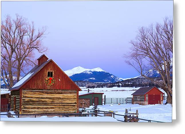 Wood Barn Wlighted Holiday Wreath & Greeting Card by Michael DeYoung