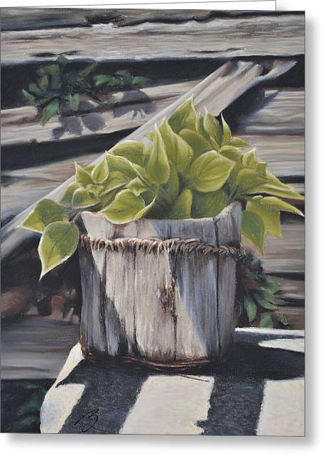 Wood Bucket - Pastel Greeting Card