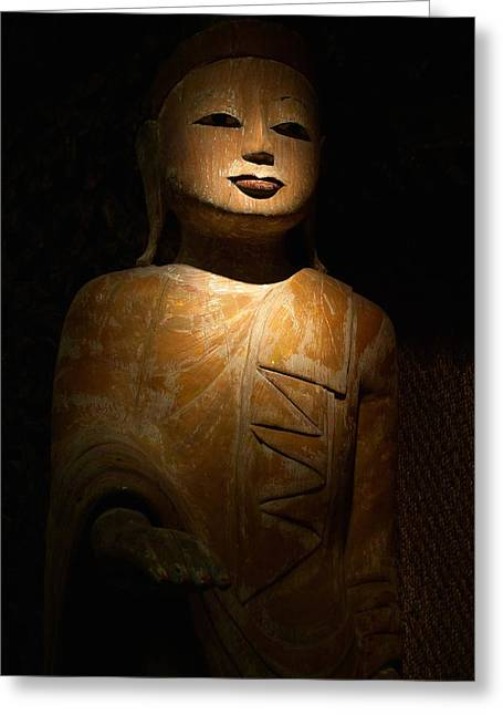 Wood Buddha Statue Greeting Card