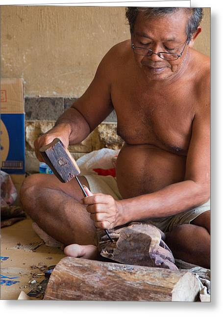 Greeting Card featuring the photograph Wood Carver - Bali by Matthew Onheiber