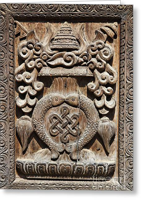 Wood Carving At Bhaktapur In Nepal Greeting Card by Robert Preston