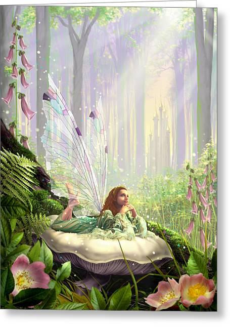 Wood Fairy Greeting Card by Garry Walton