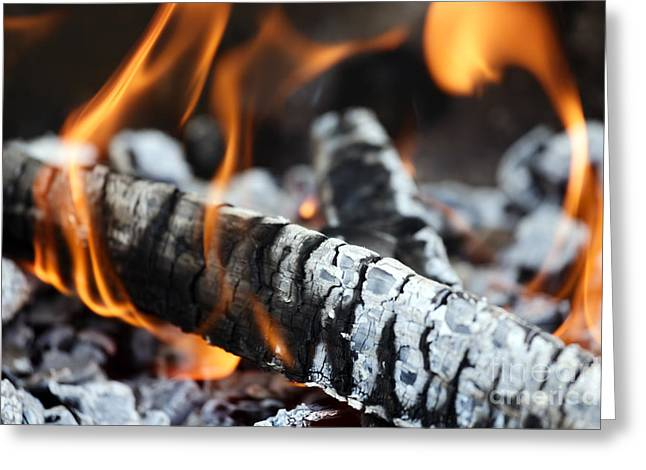 Wood Fire Greeting Card by Rostislav Bychkov