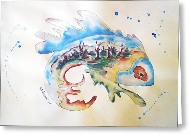 Wood-fish Greeting Card by Natasa Dobrosavljev