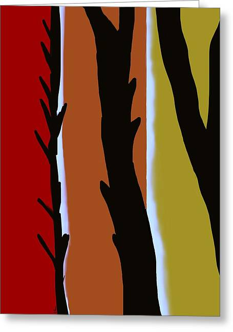 Greeting Card featuring the digital art Wood L by Christine Fournier