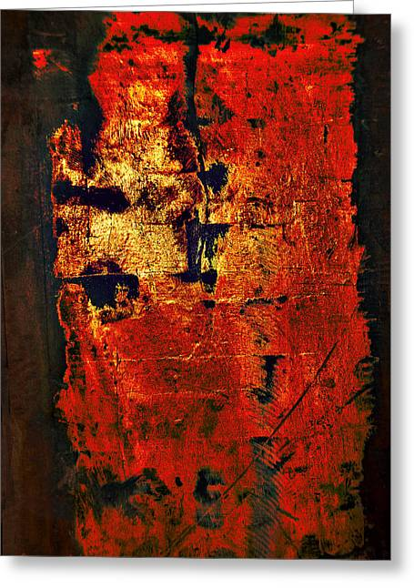 Greeting Card featuring the painting Wood On Fire 3 Painting Original Sold by Renee Anderson