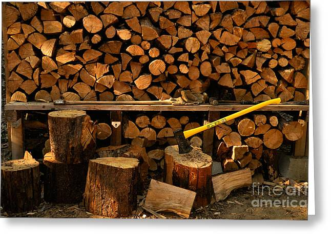 Wood Pile Greeting Card by Ron Sanford