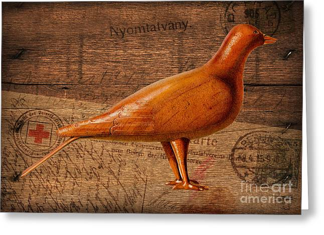 Wood Postal Pigeon Greeting Card