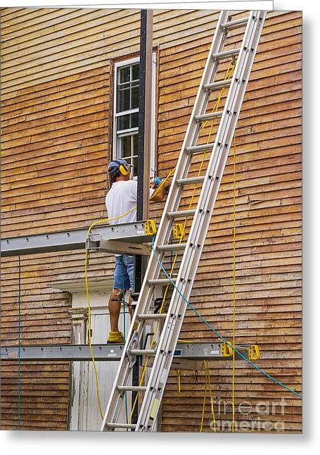 Wood Sanding The House Greeting Card by Patricia Hofmeester