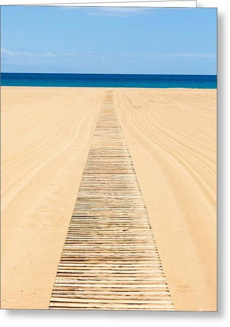 Wood Slat Wheelchair Beach Access Ramp Greeting Card by Peter Noyce