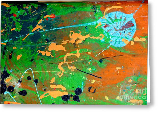 Wood Splattered With Paint Greeting Card by Amy Cicconi