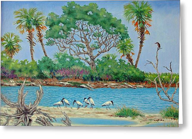 Wood Stork Beach Party Greeting Card by Dwain Ray