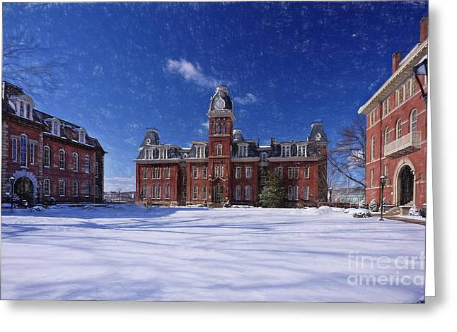 Woodburn Hall In Snow Strom Paintography Greeting Card