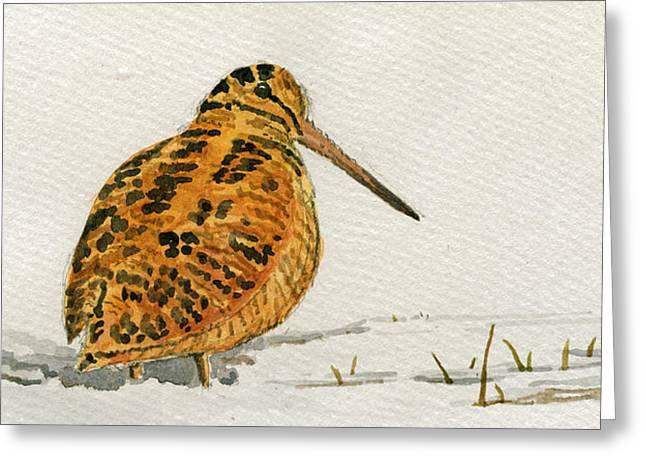Woodcock Bird Greeting Card by Juan  Bosco