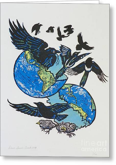 Woodcut Cover Illustration For Corvidae - Poems By Bj Buckley Greeting Card by Dawn Senior-Trask