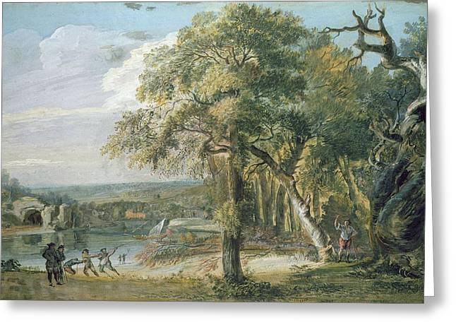 Woodcutters Near A River, C.1755 Wc On Paper Greeting Card