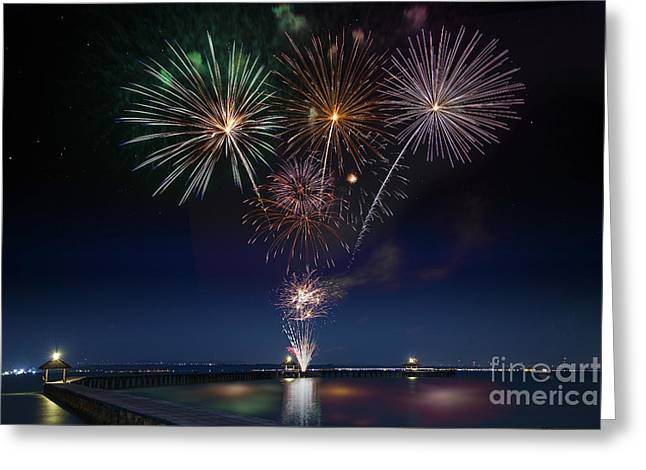 Wooded Bridge In The Port Between New Year Celebration  Greeting Card by Anek Suwannaphoom
