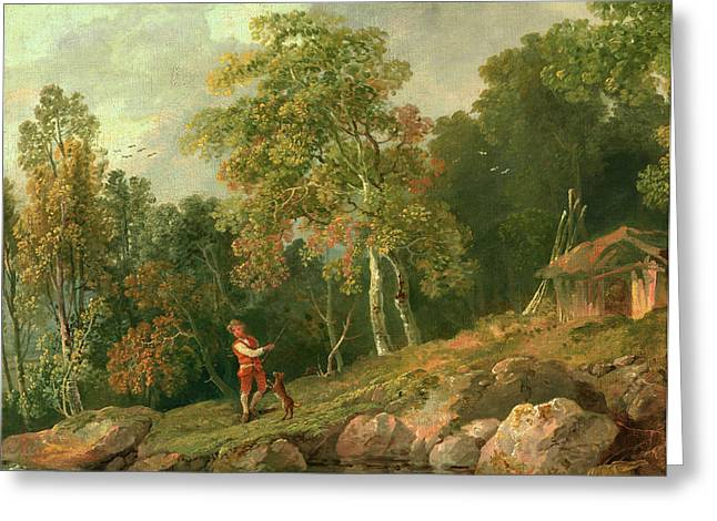 Wooded Landscape With A Boy And His Dog, George Barret Greeting Card by Litz Collection