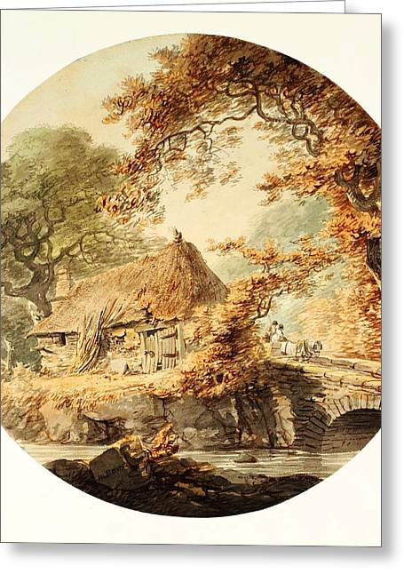 Wooded Landscape With A Cottage Beside A Bridge Greeting Card