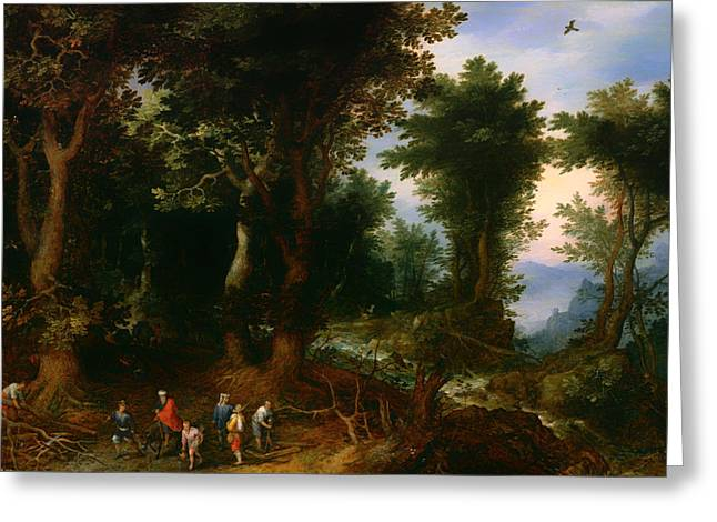 Wooded Landscape With Abraham And Isaac Greeting Card