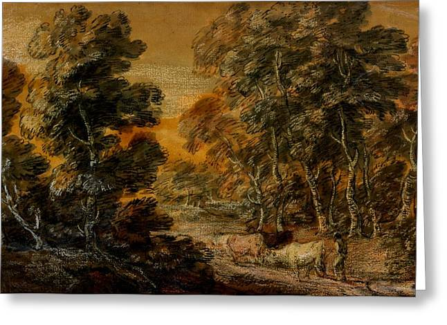 Wooded Landscape With Herdsman And Cattle Greeting Card by Thomas Gainsborough
