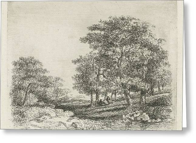 Wooded Landscape With Two Men Conversing Greeting Card