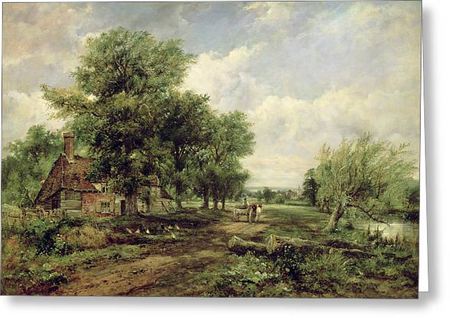 Wooded River Landscape With A Cottage And A Horse Drawn Cart Greeting Card