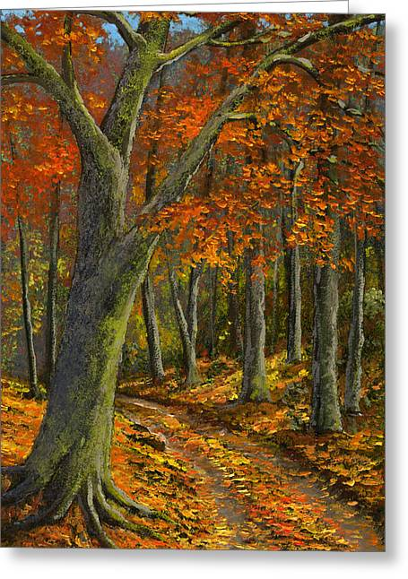 Wooded Road Greeting Card by Frank Wilson