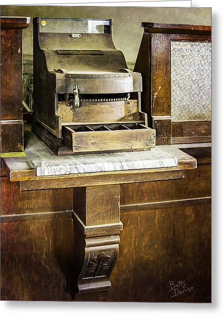Greeting Card featuring the photograph Wooden Bank Cash Register by Betty Denise