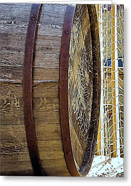 Wooden Barrel And Net Greeting Card by Janice Drew
