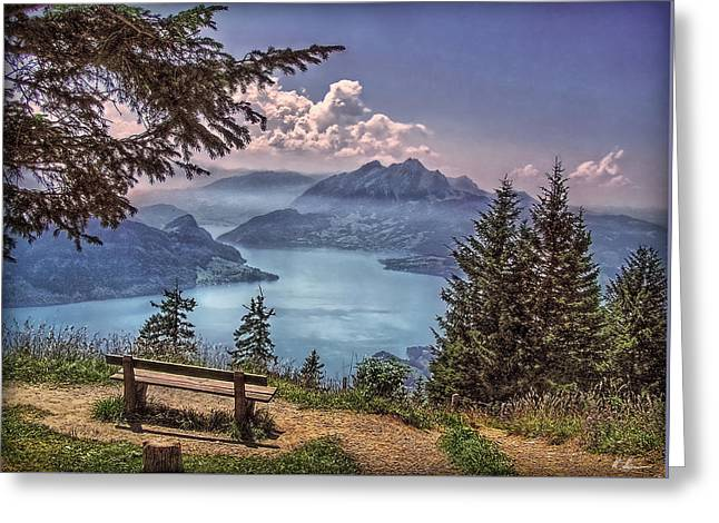 Greeting Card featuring the photograph Wooden Bench by Hanny Heim