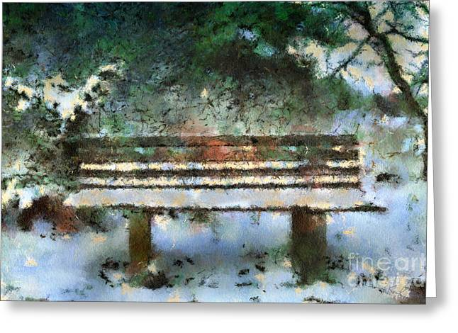 Wooden Bench In The Forest Greeting Card