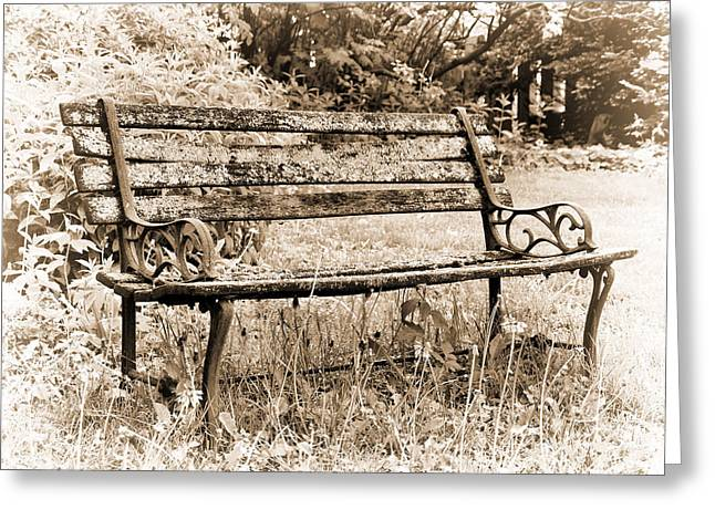 Wooden Bench Greeting Card by Tom Druin