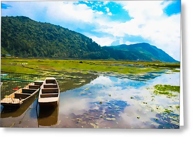 Wooden Boat In China Greeting Card by Lanjee Chee