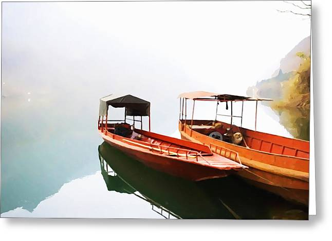 Wooden Boat In Lake Greeting Card by Lanjee Chee