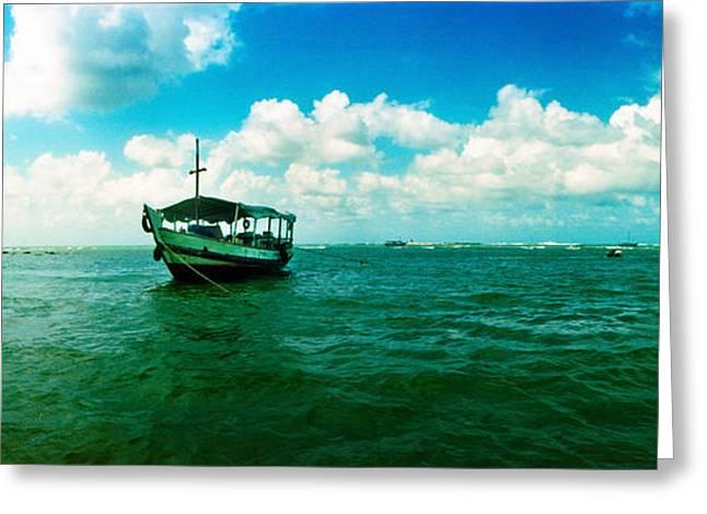 Wooden Boat In The Ocean, Morro De Sao Greeting Card