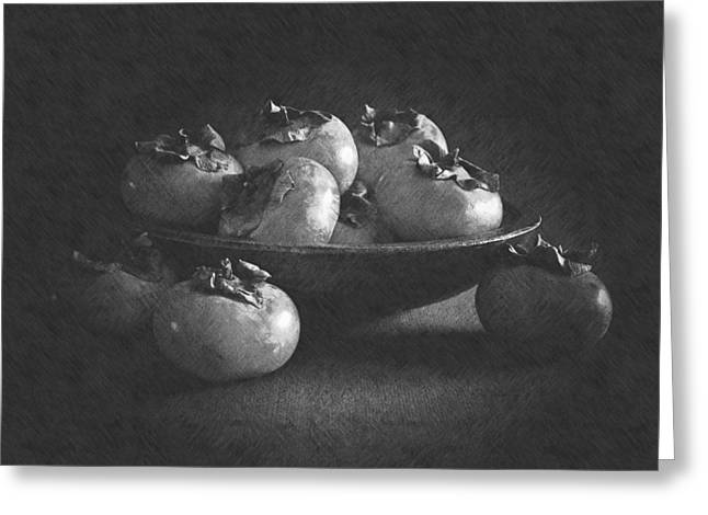 Wooden Bowl Of Persimmons Greeting Card by Frank Wilson