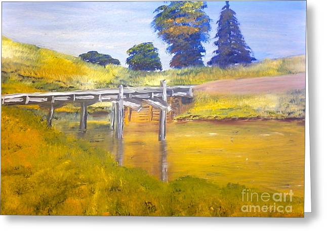 Greeting Card featuring the painting Wooden Bridge At Graften by Pamela  Meredith