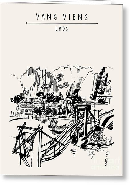 Wooden Bridge, Mountains, Riverside And Greeting Card