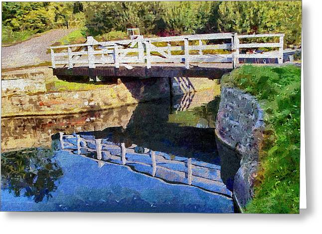 Greeting Card featuring the digital art Wooden Bridge by Paul Gulliver