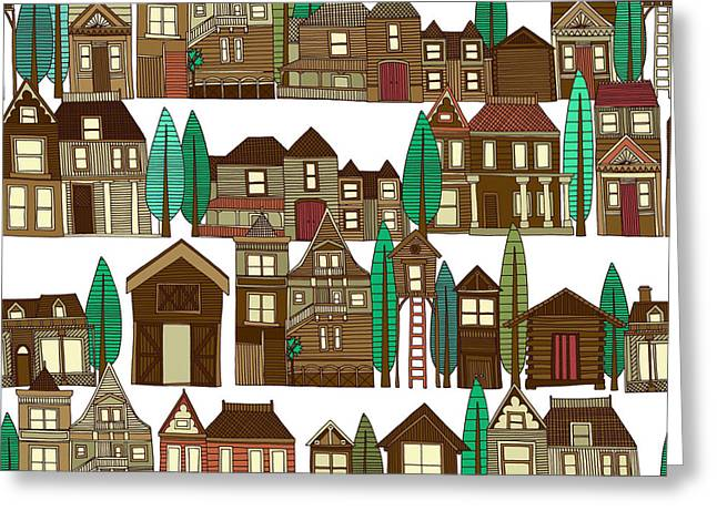 Wooden Buildings White Greeting Card by Sharon Turner