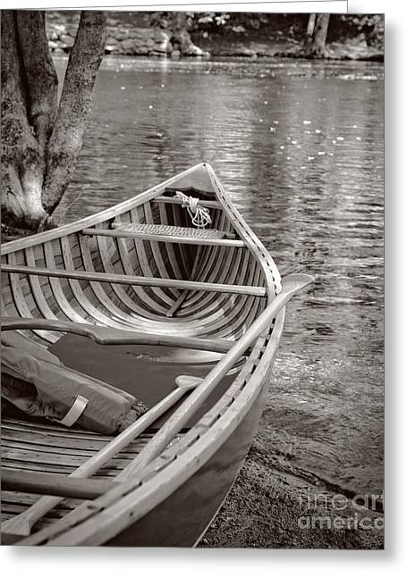 Wooden Canoe Greeting Card by Edward Fielding
